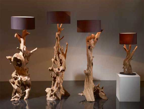 lámparas pie troncos