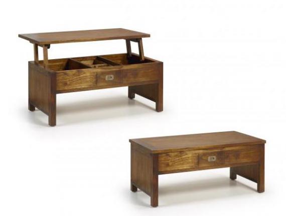 Mesa de centro elevable de madera de mindi muebles capsir for Mesas de centro de madera