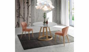 Mesa extensible redonda alice cristal y madera